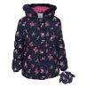 Floral Shower Resistant Ruffle Detail Coat with Mittens